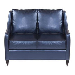 """Howard Elliott Shimmer Sapphire Side Car Loveseat - Our Side Car Loveseat features classic styling in bold fabrics. It is hand crafted with extra plush cushions with removable covers for easy care. Seat height is 22"""" - seat depth is 23"""" - COM options available Metallic Blue Polyurethane Fabric"""
