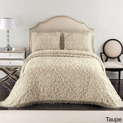 None - Layla Chenille Bedspread (Shams Sold Separately) - Imported from India,this bedspread features a captivating brocade design with fringed hem finish on three sides and is constructed of 335 GSM 100-percent cotton chenille. A matching sham is available to purchase separately.