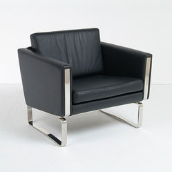 Modern Classics - Wegner: JH Lounge Chair Reproduction - Features:Hardwood seat framePolished stainless steel baseHigh Resilient Multi-Density FoamChoice of Scandinavian LeatherSpecifications:Overall Dimensions (in): 32w x 31d x 30hSeat Height: 17 in.Weight: 90 pounds