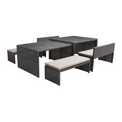 Zuo - Sanibel Espresso Outdoor Dining Flex Set - The Sanibel outdoor dining set is finished in a rich espresso color made of weather-resistant synthetic material and a durable aluminum frame. This set includes two tables and four benches for ample outdoor seating.