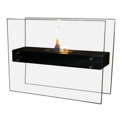 Nu-Flame - Nu-Flame La Strada - La Strada features a large capacity stainless steel burner and sleek black body suspended between two thick tempered glass panels which reflect and enhance the fire.