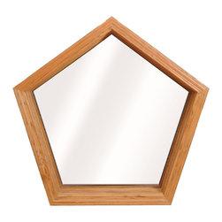 Geometric & Specialty Windows - Interior view of Wellington Pentagon Window; shown in Lite Oak wood grain.