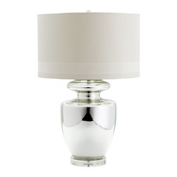 Cyan Design - Cyan Design Winnie Transitional Table Lamp X-26550 - The classic urn shape of this Cyan Design table lamp has been finished in a beautiful Mirrored Glass hue that compliments the fluid curves, traditional turning and other classic elements of the design. A white fabric shade with white satin lining in a clean and modern drum shape completes the look.