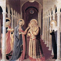 """Fra Angelico The Presentation of Christ in the Temple Print - 16"""" x 24"""" Fra Angelico The Presentation of Christ in the Temple (The Cortona Altarpiece) premium archival print reproduced to meet museum quality standards. Our museum quality archival prints are produced using high-precision print technology for a more accurate reproduction printed on high quality, heavyweight matte presentation paper with fade-resistant, archival inks. Our progressive business model allows us to offer works of art to you at the best wholesale pricing, significantly less than art gallery prices, affordable to all. This line of artwork is produced with extra white border space (if you choose to have it framed, for your framer to work with to frame properly or utilize a larger mat and/or frame).  We present a comprehensive collection of exceptional art reproductions byFra Angelico."""