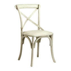 """Zentique - Zentique Furniture Parisienne Antique Off White Cafe Chair - Fusing classic European motifs with rustic charm, Zentique's home decor and furnishing collection defines understated elegance. Romantic French flair marks the Parisienne cafe chair's vintage-inspired design. Crafted with an antique off-white finish, this bistro seat features a back arch brace and traditional rattan caning. Made from oak. 19.5""""W x 20""""D x 35""""H."""