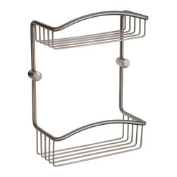 Smedbo - Cabin 2 Level Soap Basket in Brushed Nickel Finish - Produced in Solid Brass it will never rust. Concealed fastening. 8 in. W x 4 in. D x 11 in. H