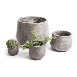Repose Home - Samai Planter, Charcoal Grey, Small - This beautiful Pod Shaped planter is cast from cement and natural fiber for added strength while keeping a lightweight feel for versatile use. Artfully showcase garden greenery with its gorgeous organic tone.