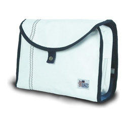 "Sailor Bags - Sailcloth Hanging Dopp Kit/Toiletries Kit - Our Sailcloth Hanging Dopp Kit/Toiletries Kit is made from genuine sailcloth and is a great travel bag for Men and Women. Robust sailcloth exterior. Interior features two clear plastic zippered compartments and one zippered mesh compartment. A metal hook for hanging is securely attached to the bag. Stow all your small items securely roll up the bag snap it closed and you are ready to sail on to the next port. Dimensions: 9.5""h x 10.25""w x 4""d"