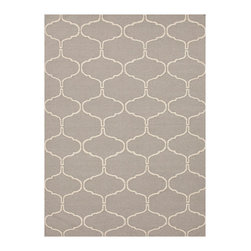 Jaipur Rugs - Gray & Ivory Flat-Weave Moroccan Wool Rug - Give the floorboards a wash of rich color and design with this handtufted wool rug.   Note: Shedding is common with new wool rugs and will diminish over time   Flat-weave 100% wool Spot clean Imported