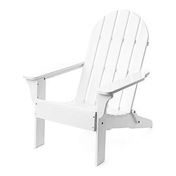 Adirondack Chair, White - The beauty of an Adirondack chair placed in the backyard is perfect for summer reading during warm days on a shaded lawn.