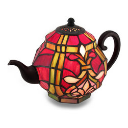 Zeckos - Stained Glass Teapot Accent Lamp Tiffany Style Art Glass Lamp - Add a touch of glowing charm with this delightful teapot shaped lamp beautifully crafted in the Tiffany style from dozens of vibrant red, amber and pink stained art glass pieces creating a brilliant display perfect for a desk, tabletop, counter or end table! A decorative cast resin antique bronze finish pour spout, handle and lid create an impressively convincing profile in the kitchen or dining room, and it easily turns on or off via an in-line thumbwheel switch on the 70 inch long cord. This 6.5 inch high, 10 inch long, 6.5 inch wide (17 X 25 X 17 cm) teapot accent lamp uses one E12 Type B, 15 Watt maximum bulb (not included), and is great as a housewarming gift sure to be enjoyed!