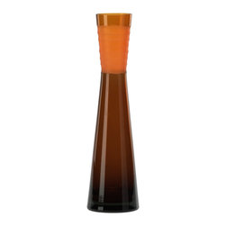 Cyan Design - Cyan Design Medium Orange Chiseled Neck Vase X-25900 - A contemporary angular shape has been paired with sleek lines and cinched detailing on this Cyan Design vase. Featuring a chiseled neck for texture, this medium glass vase comes in a vibrant Orange hue, with heavier coloring at the base that fades upward into a brilliant tone.