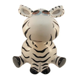Adorable Bobble Head Zebra Money Bank Piggy - This adorable cold cast resin bobble head zebra figurine doubles as a piggy bank. The zebra measures 5 1/4 inches tall, 5 1/4 inches wide and 4 1/2 inches deep. The bank empties via a twist off plastic piece on the bottom. He is hand-painted, and makes a great gift for zebra fans.