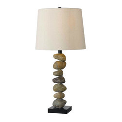 Kenroy Home - Kenroy Home 32123  1 Light Table Lamp with 3-Way Socket Switch from the Rubble C - 1 Light Table Lamp with 3-Way Socket Switch from the Rubble CollectionA Rubble Rock lamp is artistic and brings the natural elements indoors. A stacked stones pole with a drum shaped shade adds style and d�cor to any room.Kenroy lighting creations are custom designed to provide years of satisfaction. Trained designers and technicians create functional works of art that exceed appearance and performance expectations. Their craftsman match materials and finishes to each application, for showroom quality at superior values. Particular care is paid to hand applied polishing and painting, matched with the finest glass and shade treatments. Lighting collections are designed to facilitate mix and match coordination.Features: