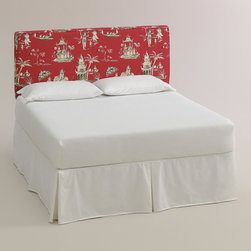 World Market - Pagoda Road Loran Headboard - Beautify your bed with our custom-made Pagoda Road Loran Headboard, handcrafted in the U.S.A. with cotton upholstery and a welt trim. Showcasing a Chinoiserie-inspired motif on a brilliant red ground, this World Market exclusive headboard is a dreamy deal. Pair it with our coordinating McKenzie Ottoman in the same custom fabric for a pulled together look.