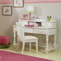 Legacy Classic Furniture - Olivia Computer Desk - Girls (and Moms) of all personalities will love these classic cottage forms - especially because you can easily make it your own by adding accents. Enjoy Classic style? Add blue and yellow paisley and mini-checks in your linens and accents. A Natural girl? Try a mixed palette of bohemian florals and woven raffia accents. Hip chick? Bring in black/grey/white graphics and a pop of bright red or metallic silver. Beachy? Add shells, sand-colored neutrals and ocean aqua accents. Instant style. Features: -Three drawers.-All-wood drawer featuring French dovetail joinery and glue-blocks.-Center drawer drops for keyboard.-Positive drawer stops to prevent unintended drawer extraction.-Kenlin roller drawer guide system yields many years of trouble-free use.-Dust-proof bottom panels to help keep clothing clean.-Hardware in classic American bail pulls.-Constructed of select hardwood solids and veneers.-Olivia collection.-Distressed: Yes.-Collection: Olivia.Dimensions: -Overall Product Weight: 112.2 lbs.Assembly: -Assembly required.Warranty: -Manufacturer provides one year warranty.