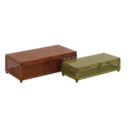"""Benzara - Classy Styled Unique Metal Box - Are you in the search for something that is vintage for storage purposes? Then your search ends here. Presenting this unique set of 2 boxes are available in two different sizes and a features a rusty features adding to its antique trunk appeal and a comfortable knob for easy opening and closing. These boxes will not only help you tidy up your home but will also spruce up any space or ambience with its uniqueness. Your guests and visitors will be awestruck at this sight of this wonderful storage boxes.These set of boxes are easy to clean and very durable. They can suit any space and will consume less space. You can also present it to your near and dear ones, they will surely appreciate this one of a kind storage container. So don't wait and get one now. This storage boxes measures 13 inch (W) x 11 inch (h); Made of metal; Rusty features with comfortable handles; Dimensions: 14""""L x 8""""W x 5""""H"""