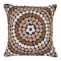 Surya Rugs - Brown Circles 18 x 18 Pillow - Bring fun to your room with this geometric pillow. Covered in small circles, this pillow has a textured and colorful feel. Colors of espresso, brown sugar, carmel, parchment, and cobble stone accent this decorative pillow. This pillow contains a poly fill and a zipper closure. Add this pillow to your collection today.  - Includes one poly-fiber filled insert and one pillow cover.   - Pillow cover material: 95% Wool, 5% Polyester Surya Rugs - CW055-1818P
