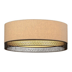 Lit Modern - Lit Modern Hollywood Beach Ceiling Mount - Fabric drum with hand-crafted wire detail and opal glass diffuser. Incandescent includes (2) E26 medium base 75 watt or equivalent A19 lamps; fluorescent includes (3) GU24 base 27 watt self-ballasted compact fluorescent lamps. 120v.