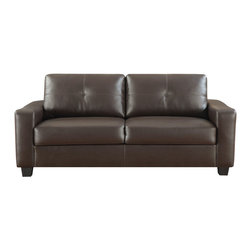 Coaster - Jasmine Collection Chocolate Casual Sofa - Smart styling wrapped in a super-soft bonded leather match. The shapely Jasmine sofa enhances any space with big, plush cushions, and slightly flared design that welcomes you with open arms.