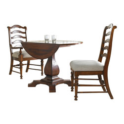 "Hooker Furniture - Waverly Place Round Drop Leaf Pedestal Table - White glove, in-home delivery included!  Table only.  Two 10-inch drop leaves.  Can seat up to four people.   Apron to floor: 29 1/4""  Distance inside feet: 19 3/4"""