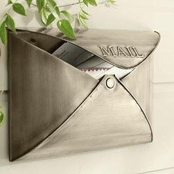 "Envelope Mailbox, Antique Silver finish - Styled like an envelope, our metal mailbox's lid opens to insert and remove mail. 16"" wide x 5"" deep x 11.5"" high Made of iron with a bronze, antique bronze, antique silver, or vintage brass finish. Catalog / Internet only."