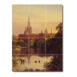 Picture-Tiles, LLC - A View In Central Park Tile Mural By Jasper Cropsey - * MURAL SIZE: 32x24 inch tile mural using (12) 8x8 ceramic tiles-satin finish.