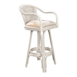 Hospitality Rattan - Hospitality Rattan Key West Rattan & Wicker Whitewash Swivel Bar Height Stool - Bring the tropics to your home with the Key West Counter stool. It is a traditional wicker and rattan swivel counter stool that is built with solid rattan pole construction reinforced with a pencil rattan twist. The Key West Collection offers three basic finishes Antique Natural and Whitewash. The counter stools feature commercial grade reinforced rattan bases swivel mechanisms & reinforced double pole footrests. The stool will come with instructions and requires assembly. It comes with a comfortable cushion in the beige fabric as shown. For an upcharge you can choose from your choice of over 35 fabrics in a variety of colors and patterns to match your decor. The Key West counter stool is the perfect addition to your bar. Since 2000 Hospitality Rattan has been designing and distributing contract quality rattan wicker and bamboo furnishings. A variety of indoor and outdoor collections derived from the best possible materials is available for the furniture buyer who wants that tropical feel. Features include Includes cushion with fabric as shown Swivel Mechanism Included Constructed of commercial quality rattan poles Requires Some Assembly (Instructions Included). Specifications Finish: Whitewash Material Type: Rattan Poles & Woven Wicker.