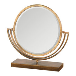 Uttermost - Hadriana Gold Vanity Mirror - Hand forged metal finished in heavily antiqued, plated gold. Pivoting mirror is double sided with a bevel on one side and plain on other.