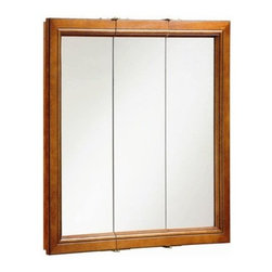 DHI-Corp - Montclair Chestnut Glaze Triple Door Medicine Cabinet Mirror with Solid Wood Fra - The Design House 541391 Montclair Chestnut Glaze Triple Door Medicine Cabinet Mirror features a durable chestnut finish, 2-shelf design and particle board side panels. With a 3-door design, this medicine cabinet measures 30-inches by 30-inches by 6-inches. The doors glide open revealing shelves to store shampoo, medicine and makeup. The doors open with a fluid motion, do not whine or creak and endure moderate stress. Use this mirror for shaving or applying makeup in the morning. This product comes pre-assembled and is CARB compliant, which means it adheres to the toughest production standards in the world for formaldehyde emissions (in wood composite paneling). The Design House 541391 Montclair Chestnut Glaze Triple Door Medicine Cabinet Mirror has a 1-year limited warranty that protects against defects in materials and workmanship. Design House offers products in multiple home decor categories including lighting, ceiling fans, hardware and plumbing products. With years of hands-on experience, Design House understands every aspect of the home decor industry, and devotes itself to providing quality products across the home decor spectrum. Providing value to their customers, Design House uses industry leading merchandising solutions and innovative programs. Design House is committed to providing high quality products for your home improvement projects.