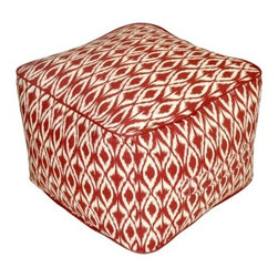 Threshold Outdoor Rectangular Pouf Footstool, Red Ikat - A pouf is just what kids need to make them comfortable.