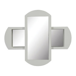 Decolav - Decolav Gabrielle White Wall Mirror - DECOLAV's Gabrielle Wall Mirror adds a decorative elegance to any bathroom. The horizontal and vertical double mirror has an open storage cubby behind the vertical portion that slides side to side.