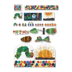 Carson-Dellosa - Carson-Dellosa Very Hungry Caterpillar Board Set - Assorted - The Very Hungry Caterpillar set includes the Carson-Dellosa Very Hungry Caterpillar Bulletin Board set, Very Hungry Caterpillar Border and Very Hungry Caterpillar Good Work Holders. The Bulletin Board set features 13 storytelling pieces (the largest approximately 22-1/2 x 9-3/4), The Very Hungry Caterpillar header, and a resource guide. The border offers twelve 3' x 3 strips for a total length of 36'. Good Work Holders feature a self-adhesive backing that sticks instantly to most smooth surfaces, such as wood, metal and painted cinder blocks. Use the reusable adhesive strip on the front for displaying student work. The Very Hungry Caterpillar-themed holder can be repositioned again and again. Remove the holder without damaging your walls. Work holder includes four caterpillars and two suns.