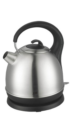 Sunpentown - Stainless Cordless Kettle, 1.75 Qt. - With 1500 watts of power, this electric kettle boils 1.7 liters of water quickly, allowing you to enjoy your tea, coffee or instant noodle in minutes. Designed with a concealed heating element, mineral deposits are kept to a minimum and makes cleaning easier. Unit automatically shuts off when water has boiled. Kettle rotates 360 degrees on the base and lifts cord-free for easy pouring. Also features an anti-scale mesh filter to trap lime and calcium particles, power indicator light and water level indicator.
