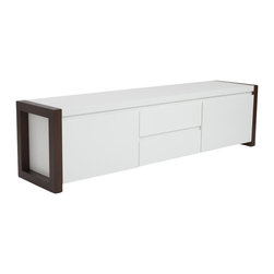 "Eurostyle - Eurostyle Manon Media Stand in White and Dark Walnut - Eurostyle - TV Stands - 90194WHT - Both 67"" wide in some settings they make a great pair. Individually, the sideboard has three wide drawers on the left and a wide storage compartment on the right. Plenty of space for dining room accessories. And when it�s time to entertainment the Manon Media Stand is the perfect 18� height. Just right to keep your flat screen at eye level while you relax in front of your latest Netflix classic."