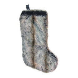 Fur Stocking, Gray - How fun is this fur stocking? It's so unique and perfect for the person who wants something a little different for their holiday decor.