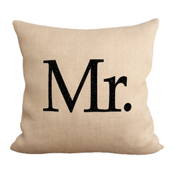 """Fiber and Water - Mr. Pillow Pillow - No Pillow Insert. Cover Only - Mr. - burlap toss pillow. Dimensions: 19""""x19"""". Front: 100% Sultana Burlap w/ Hand-Pressed Print in Black. Back: 100% Natural Duck Cloth Canvas. French Seams & Surged Edges. Aluminum Hidden Zipper. Spot-Clean Only As always, Made in Maine."""