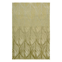 Nourison - Nourison Hand-tufted Contours Green Rug (8' x 10'6) - This luxurious hand tufted area rug features a green background with a decorative white floral leaf pattern design throughout. This comfortable rectangular area rug with clean lines has a high 0.75-inch pile that feels great on the feet.