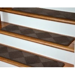 "Dean Flooring Company - Dean Premium Serged Carpet Stair Treads - Diamond Brown 35"" x 9"" (Set of 13) - Dean Premium Serged Carpet Stair Treads - Diamond Brown 35"" x 9"" (Set of 13) : Dean Premium Nylon Patterned Carpet Stair Treads by Dean Flooring Company Color: Diamond Brown Material: 100% Premium Stain Resistant Nylon. Edges: Finished (Serged) with Color Matching Yarn. Each tread measures approximately 35"" x 9"". Unique diamond pattern. Easy to spot clean and vacuum. Helps prevent slips on your hardwood stairs. Great for helping your dog easily navigate your slippery staircase. Reduces noise Reduces wear and tear on your hardwood stairs Attractive: adds a fresh new look to your staircase. Easy DIY installation with double sided carpet tape (not included). High quality patterned 39 oz. soil and stain resistant carpeting. Add a touch of warmth and style to your home today with stair treads from Dean Flooring Company!"