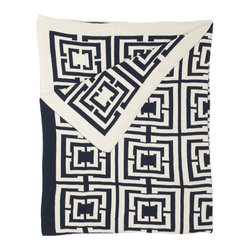 Logo Throw by COCOCOZY - A casual throw blanket in navy and white says beach house all over it, but the Greek key pattern takes it up a notch and keeps the look refined.