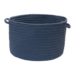 "Colonial Mills, Inc. - Brooklyn, Blue Haze Utility Basket, 18""X12"" - Natural woven storage baskets are a brilliant accessory for the modern household. Stylish enough to integrate into your casual-chic decor, they allow you to keep things you use regularly out within easy reach. This braided wool basket in classic navy is soft enough for linens yet strong enough to carry some weight, so you can store anything from throw blankets to firewood in plain view."