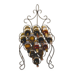 J&J Wire - 18 in. Victorian Wine Rack - Wine not included. Heavy construction. Welded fabrication. Free standing. Holds 13 bottles. Made from sturdy wrought iron. Custom dark pewter powder coated finish. Made in USA. No assembly required. 18 in. W x 6 in. D x 34 in. H (8 lbs.)The custom dark pewter powder-coat finish will display 13 bottles of wine in high fashion. Bottles slide in and out of ring holders for easy access. This is a remarkable piece of art to display your collection of wine.