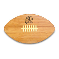 """Picnic Time - Washington Redskins Touchdown Pro Cutting Board in Natural Wood - The Touchdown! cutting board is a 15"""" x 8.75"""" x 0.75"""" board made of eco-friendly bamboo with a standard football design, with 123 square inches of cutting surface. It can be used as a cutting board or serving tray, or use both sides of the board, one for cutting and the other for serving. The backside of the board is solid dark bamboo. Go long...for the Touchdown! Decoration: Engraved"""