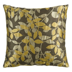 """Surya - Surya HH-060 Flowering Pillow, 18"""" x 18"""", Poly Fiber Filler - Catch the eye of any beholder with this classically chic pillow. This piece blends elements of rich luxury through the gleaming mustard and deep brown coloring and a soft natural feel through the soft leaf on the vine design. It is sure to translate from room to room within your home. This pillow contains a zipper closure and provides a reliable and affordable solution to updating your home's decor. Genuinely faultless in aspects of construction and style, this piece embodies impeccable artistry while maintaining principles of affordability and durable design, making it the ideal accent for your decor."""
