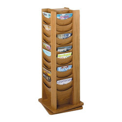 Safco - Wood Rotary Magazine Display Rack w 48 Pockets in Medium Oak Finish - Turn around your décor. This wood rotary magazine rack is the perfect place for literature, newspapers and much more. Use in your retail area, waiting room, at a tradeshow and elsewhere. A classic medium oak stain puts the finishing touch on this 48-pocket display rack. Rotates 360 degrees. Scoop design pockets. Forty-eight compartments. Wood stain finish. Made from hardboard and wood. No assembly required. Compartment size: 9.5 W x 0.75 in. D x 11 in. H. 17.75 in. W x 17.75 in. D x 49.5 in. H (75 lbs.)Expose the natural beauty of your literature, brochures, pamphlets and magazines. Whether it's for your guests in the reception area, waiting room, conference room, meeting areas, trade show booth, the lobby, foyer or entrance way or for your internal employees at a print station, lounge area, lunch or break room, mail room, supply room, classroom, media center, library or even your office, every piece of literature and magazine will have a perfect place to be displayed.