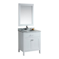 """Design Element - Design Element London 30"""" Modern Single Sink Vanity Set - White - The London 30"""" Single Sink Vanity Set is constructed with solid wood and provides a contemporary design perfect for any bathroom remodel. The storage in this free-standing vanity set includes a flip-down shelf and one double-door cabinet each accented with brushed nickel hardware. The cabinet is available in an espresso or white finish both as a complete set with a carrara white marble counter top and matching framed mirror."""