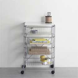 MAX Chrome 4-Drawer Cart with White Top - Embrace the art of organization with our exclusive MAX modular chrome shelving system. Versatile shelving units connect together to fit your needs and your space, transforming your mudroom, laundry room, playroom, office and closets into rooms of envy. Customize your installation with this convenient rolling cart, featuring durable white metal top and four deep, generous drawer baskets. Optional polypropylene drawer liners (sold separately) create a flat surface. Two locking casters secure the cart for stability.