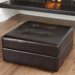 Chatsworth Leather Storage Ottoman - Brown - If it was socially acceptable to eat leather - and also safe for your body - we would gobble up the scrumptious Chatsworth Leather Storage Ottoman - Brown. Its luscious leather looks good enough to eat, but it was designed as a contemporary ottoman that hides a storage area under its cushioned top.About Best Selling Home Decor Furniture LLCBest Selling Home Decor Furniture LLC is a US-based company dedicated to providing you with a wide variety of fine furniture. With sales and manufacturing offices in Europe and China, as well as the ability to ship to anywhere in the world, no one is excluded from bringing these lovely pieces home. From outdoor to indoor furniture, children's furniture to ottomans and home accessories, all your needs will be met with attractive, high quality products that will last.
