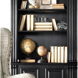 Hooker Furniture - Telluride Bunching Bookcase w Doors - One cansiter light controlled by three-intensity touch switch. One adjustable wood-framed glass shelf. One adjustable shelf. Two doors with one adjustable shelf behind. Glaze hang-up. Adjustable levelers. Made from hardwood solids with cherry veneers. Black finish with reddish brown rub-through. Glass insert: 31.31 in. L x 9.88 in. W. Glass insert thickness: 0.13 in.. Shelf: 34.25 in. L x 12.75 in. W. Shelf thickness: 0.75 in.. Wood frame shelf: 34.25 in. L x 12.75 in. W. Wood frame shelf thickness: 0.75 in.. Overall: 36 in. W x 18 in. D x 86 in. H