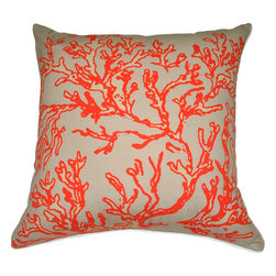 """Loom & Mill - Loom and Mill Coral Pillow, Light Blue, 18"""" x 18"""", P0011 - This Loom and Mill Coral Pillow would make a great addition to a couch or bed."""